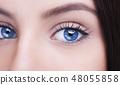 Beautiful insightful look blue woman's eyes. 48055858