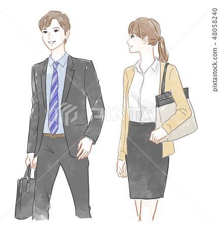 男性和女性上班族 48058240