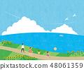 여름 소재 (가로) - 해바라기와 바다가 보이는 풍경 3 테크닉 48061359