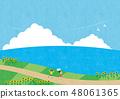 여름 소재 (가로) - 해바라기와 바다가 보이는 풍경 6 테크닉 48061365