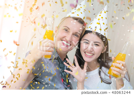 friend celebrate new year party ideas concept