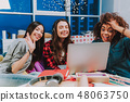 Cheerful women telling with someone by computer 48063750