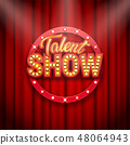 Talent show banner, poster, gold inscription on red curtain 48064943