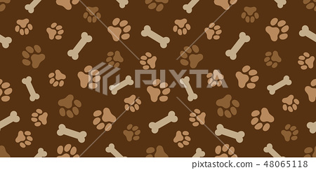 호네와 강아지 발자국 패턴 (Paw Prints & Dog Bone Pattern. Vecto 48065118