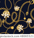 Golden chains bold floral blue pattern fashion vector design. 48065521
