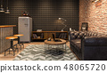 Interior of modern man living room with bar 3D rendering 48065720