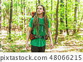 Happy male hiker with backpack 48066215