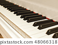 Musical journey. Side view of piano keyboard with black and white keys. Musical instrument 48066318