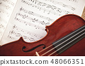 In love with classic music. Close up view of brown violin lying on music score sheet. Violin lessons 48066351