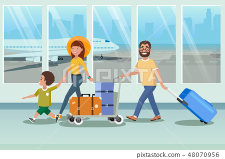 Happy Family Boarding to Plane in Airport Vector 48070956