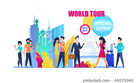Banner Illustration Special Offer on World Tour 48070960