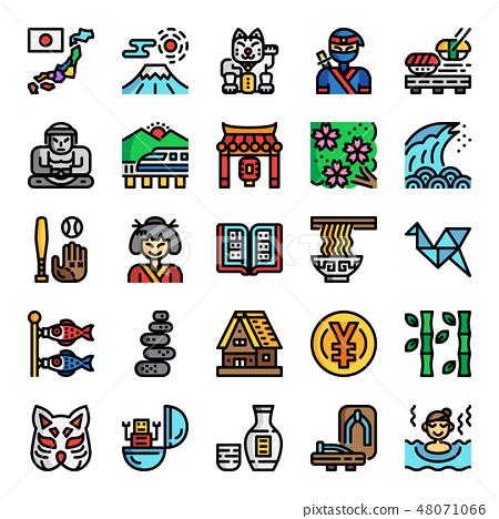 japan pixel perfect color line icons 48071066