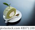 Green tea roll cake with tea leave 48071188