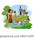 Family Picnic in Park or Garden Cartoon Vector 48071304