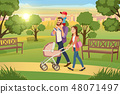 Young Family Walking with Kids in Park Vector 48071497