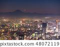"""""""도쿄도""""안개에 싸여 도쿄 서부의 야경 · 후지산의 그림자와 달 48072119"""