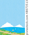 여름 소재 (세로) - 해바라기와 바다가 보이는 풍경 4 테크 48073513