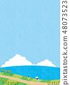 여름 소재 (세로) - 해바라기와 바다가 보이는 풍경 6 테크닉 48073523
