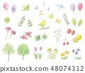 손으로 그린 수채화 일러스트 봄 세트 48074312