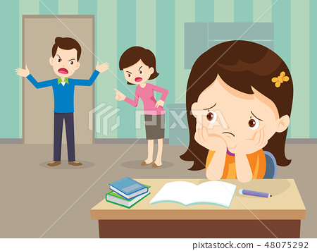 angry family quarreling with sad Daughter 48075292