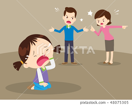 angry family quarreling with crying girl 48075305