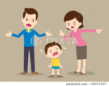 angry family dad and mom quarreling 48075307