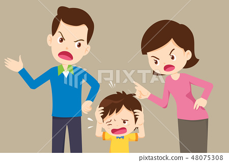 angry dad and mom quarreling with sad son 48075308