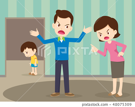 angry family quarreling with sad child 48075309