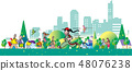 녹색 도시의 거리를 오가는 사람들 48076238