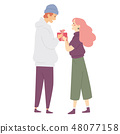 Young man giving a woman present box, girl receiving a gift from a boy. 48077158