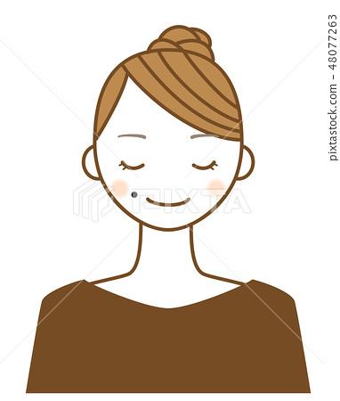 一個年輕女子的插圖,其嘴巴的痣是一個魅力點 48077263