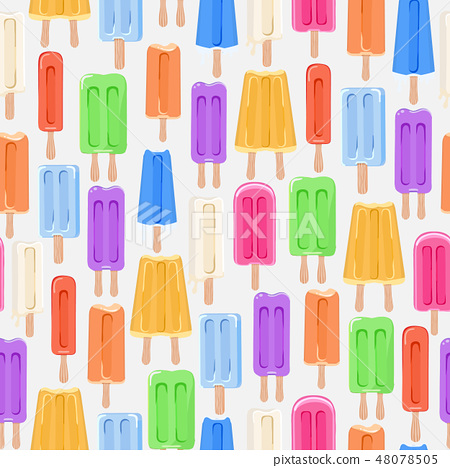 Seamless pattern background with ice cream. Vector illustration 48078505