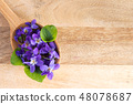 Fresh violet flowers on a wooden spoon 48078687