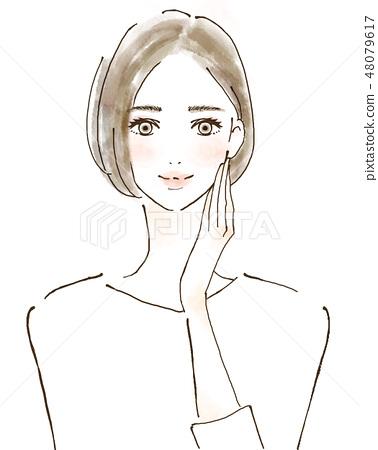 女性例證愉快的秀麗健康護膚巫婆 48079617