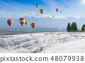 Hot air ballons flying in Pamukkale, Turkey 48079938