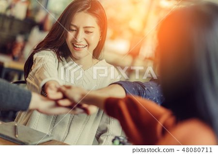 happiness successful teamwork hand together  48080711