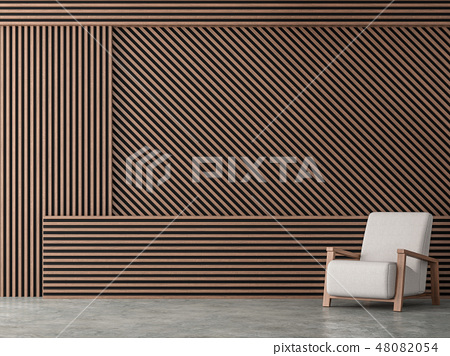 Wood battens wall idea 3d render 48082054