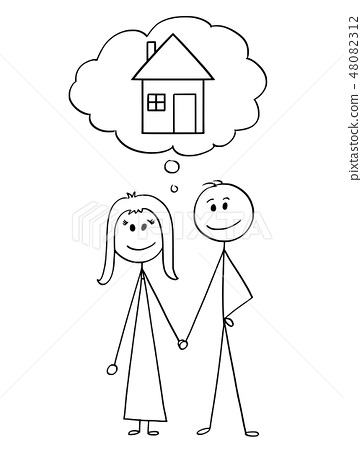 Cartoon of Heterosexual Couple of Man and Woman Thinking About Family House 48082312