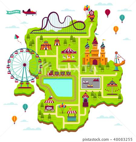 Amusement park map. Scheme elements attractions festival amuse funfair leisure family fairground kid 48083255