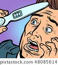 pregnancy test. scared man husband father 48085614