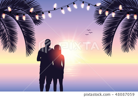 couple in love silhouette romantic day on paradise beach 48087059