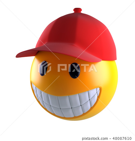 3d render of a smiley face with baseball cap. 48087610