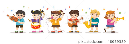 Kids Playing Musical instruments. 48089389