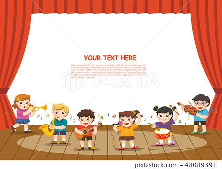Kids playing musical instruments on stage. 48089391