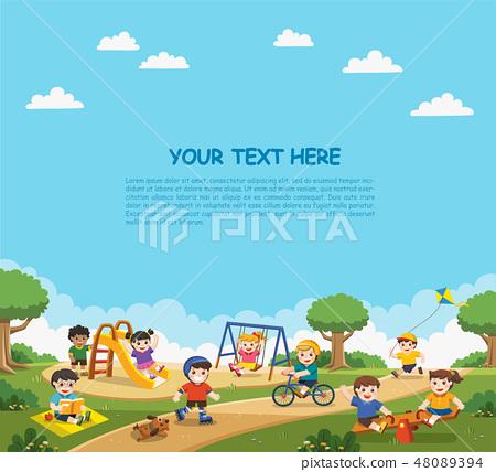 kids having fun together on playground. 48089394