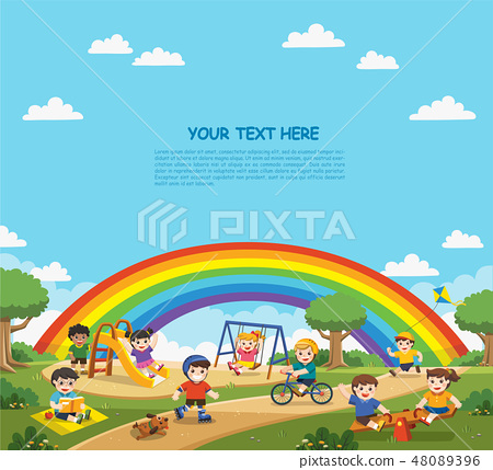 Children play outside with rainbow background. 48089396