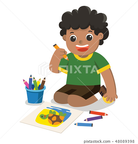 Happy Boy draw pictures pencils on floor. 48089398
