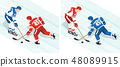 Ice hockey players in red and white blue uniform 48089915