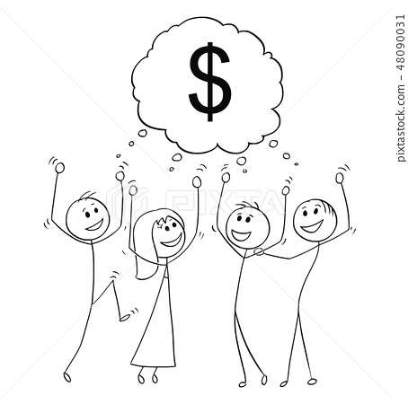 Cartoon of Group of Business People Celebrating With Dollar Sign Above 48090031