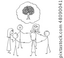 Cartoon of Team or Group of People in Circle Around Tree Image Holding Each Other Hands 48090041
